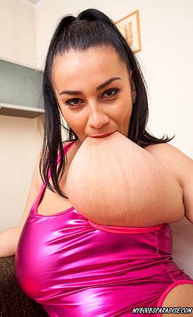 Helen Star in Spandex dress and panties masturbate