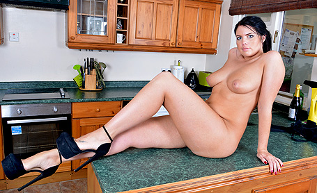 Kelly Steward Undressing in kitchen